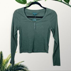 Wild Fable L/S Round Neck Henley - Olive Green